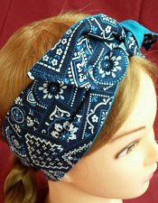 Buy Headband hair wraptie bandana blue and white bandana print 100% Cotton hand made