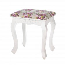 "Buy *16190U - Floral Oasis White Wood 17"" Foot Stool Pink Floral Cushion"