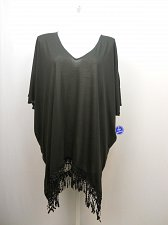 Buy SIZE 18/20 Women Fringe Poncho Cover Up SWIMSUITS FOR ALL Black Crochet Lace