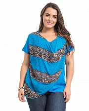 Buy Women Knit Top PLUS SIZE 1X 2X DILA Blue Chiffon Overlay Short Sleeve Scoop Neck