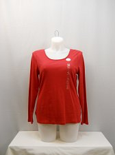 Buy PLUS SIZE 2X Knit T-Shirt 100% Pima Cotton CHARTER CLUB Scoop Neck Long Sleeves