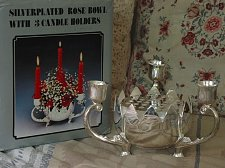 Buy SILVER PLATED 3 Candlestick Candle Holder Rose Bowl