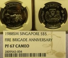 Buy Singapore 1988 $5 Fire Brigade NGC PF-67 Cameo 100th Anniv~POP 1~Rare~Free Ship
