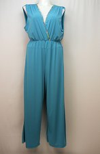 Buy Women Jumpsuit PLUS SIZE 3X Solid Teal Surplice Wide Legs Sleeveless Elastic Wai