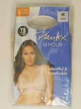 Buy Womens BRA 40C PLAYTEX 18 HOUR Solid Beige Wire Free Back Close Cushion Straps