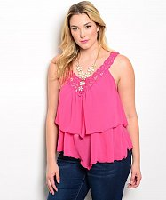 Buy SIZE 1X 2X 3X Cami Tank Top LIBIAN Pink Crocheted V-Neck Spaghetti Strap Tiered