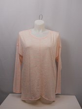 Buy PLUS SIZE 2XL Womens Knit Top FADED GLORY Peach Striped Scoop Neck Long Sleeves