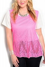 Buy PLUS SIZE 1XL 2XL 3XL Womens Tunic Top ANGELA White Pink Lace Overlay Scoop Neck