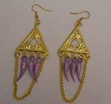 Buy Earrings Women Fashion Drop Dangle Gold Tones Lilac Beads Hook FASHION JEWELRY