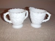 "Buy Vintage Milk Glass Cream & Sugar Westmoreland Pattern is ""Bramble"""