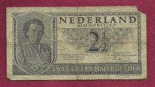 Buy Netherland 2 1/2 Gulden 1949 Banknote 1ZZ035665 - WWII Era Currency!