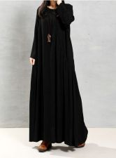 Buy long sleeved fashion maxi dress BLACK