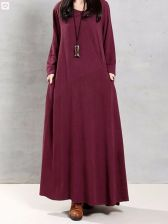Buy long sleeved fashion maxi dress wine red