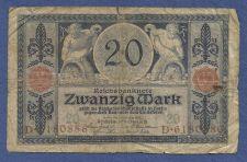 Buy Germany 20 Mark 1915 P63 Banknote #D6180886 - 2 men with cornucopias with money
