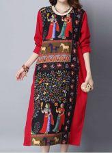 Buy long sleeved vintage pattern dress