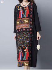 Buy long sleeved vintage pattern dress black