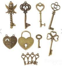 Buy 8pcs key heart pattern DIY necklace charm