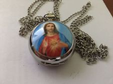 Buy Cross Jesus mini pocket watch with chain FREE SHIPPING