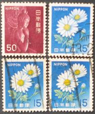 Buy Stamp Japan 1966 Definitives 15 Yenx3 Flowers Chrysanthemum and 50 Yen Miroku-wood st