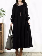 Buy long sleeved loose elegant dress BLACK