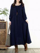 Buy long sleeved loose elegant dress