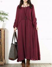 Buy long sleeved loose elegant dress red