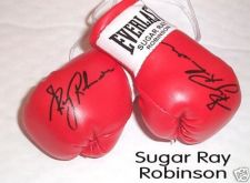 Buy Autographed Mini Boxing Gloves Sugar Ray Robinson (highly collectable)