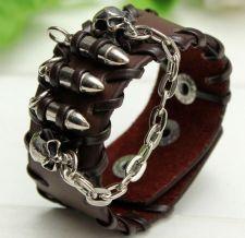 Buy skull head brown leather punk bracelet