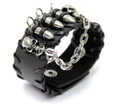 Buy skull head black leather punk bracelet