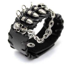 Buy skull head black leather punk bracelet