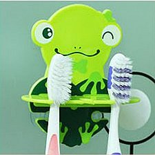Buy Cute Cartoon Wall Mounted Toothbrush Holder Green Frog, bathroom accessories