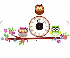 Buy owl clock home decor wall sticker