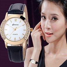 Buy Geneva Women's Diamond Analog Leather Quartz Wrist Watch