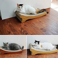 Buy Natural Wood (Teak Veneer) Corrugated Paper Cat Scratching Pad/Board