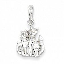 Buy Beautiful 925 Sterling Silver Two Sitting Cat Charm Pendant