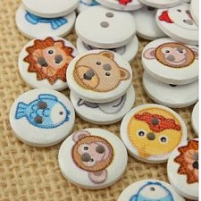 Buy 100pcs wooden buttons