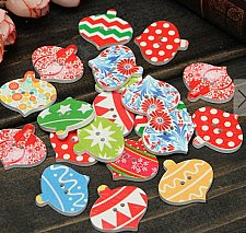 Buy 40pcs wooden buttons christmas style