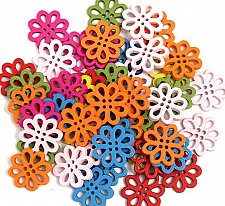 Buy 50pcs wooden flower style buttons