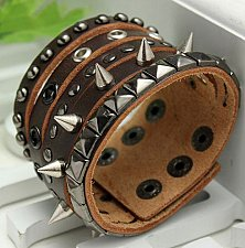 Buy rivets punk bracelet brown