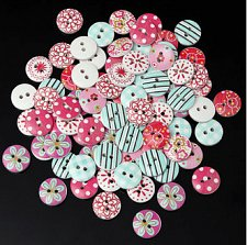 Buy 80PCS wooden button