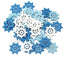 Buy 50pcs sea boat wooden scrapbooking buttons