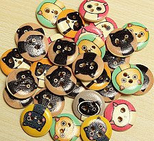 Buy 80pcs wooden animals buttons