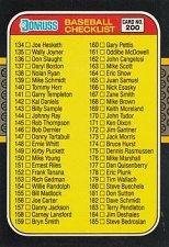 Buy 1987 Donruss Checklist Baseball Card 134 - 239