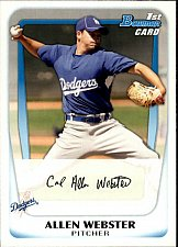 Buy Allen Webster #BP89 - Dodgers 2011 Bowman Baseball Trading Card