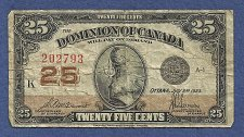 Buy CANADA 25 Cents 1923 BANKNOTE# 202793 - DOMINION OF CANADA - SHINPLASTER