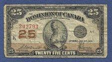 Buy CANADA 25 Cents 1923 BANKNOTE# 202793 - DOMINION OF CANADA - SHINPLASTER