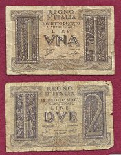 Buy ITALY Set of 2 REGNO D ITALIA BANKNOTES 1939 1&2 Lire Bank Notes -WWII Currency