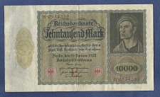 "Buy 1922 GERMANY 10000 MARK REICHSBANKNOTE H0534359 ""VAMPIRE NOTE"" Large Note"