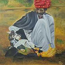Buy Rajasthani Men in Oil Painting
