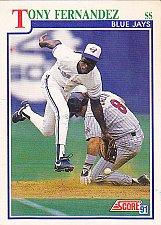 Buy Tony Fernandez #432 - Blue Jays 1991 Score Baseball Trading Card